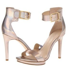 Calvin Klein Vivian rose gold ankle strap heels